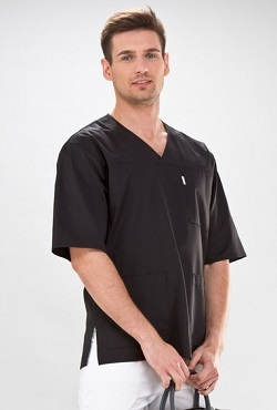 Short Sleeve V-Neck Medical Scrub Tunic For Men In  Black